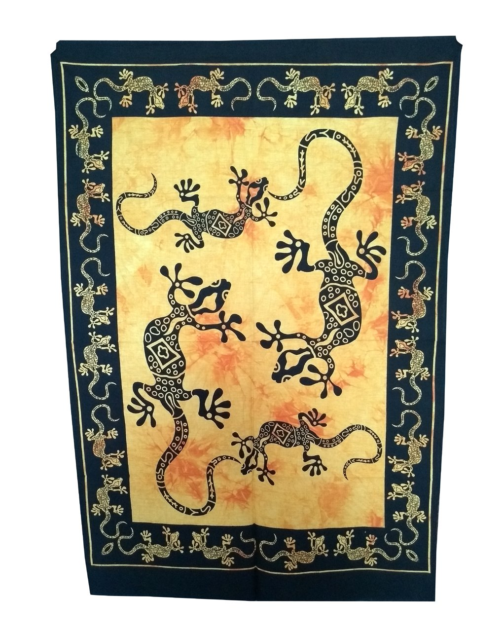 Shubhlaxmifashion Lizard Small Tapestry Poster Size 42x30 Designer Wall Hanging Cotton Ethinc Sheet Printed Yellow Tie /& Dye