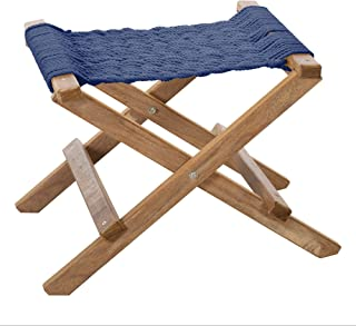 product image for Nags Head Hammocks Cumaru Folding Rope Footstool, Navy Blue DuraCord