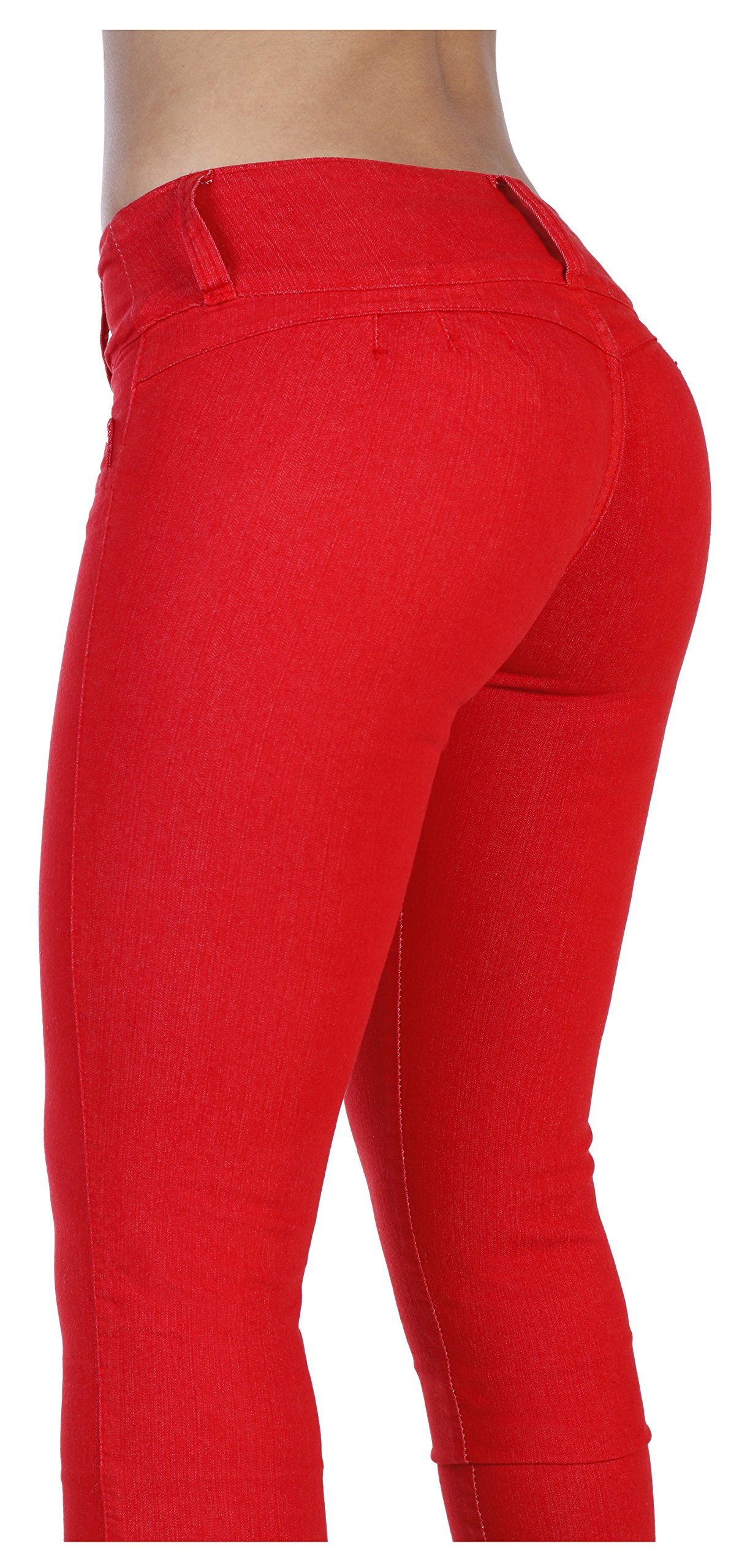 Curvify 764 Women's Butt-Lifting Skinny Jeans | High-Rise Waist, Brazilian Style Red 13