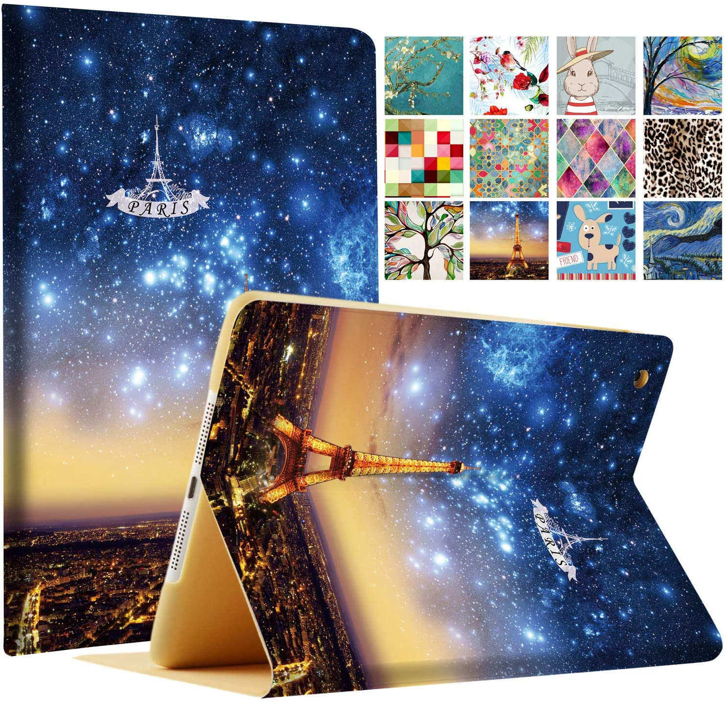 DuraSafe Cases For iPad Mini 3 2 1 Generation 7.9 Inch A1599 A1600 A1489 A1490 A1491 A1432 A1454 A1455 Printed Folio Magnetic Smart Protective Sleek & Classic Design Cover - Paris Night