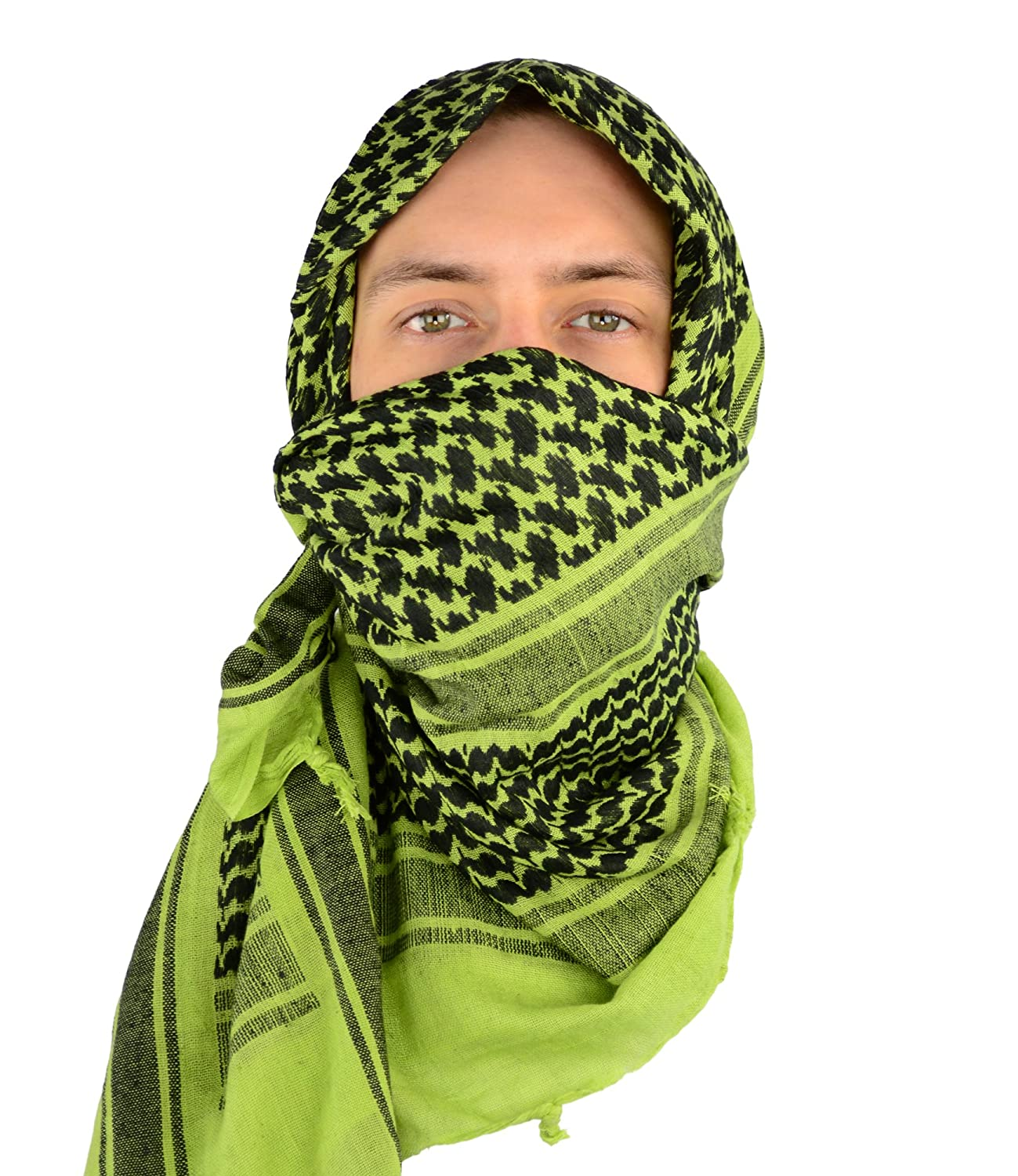 Mato & Hash Military Shemagh Tactical Desert 100% Cotton Keffiyeh Scarf Wrap White/Black CA2100 - 2