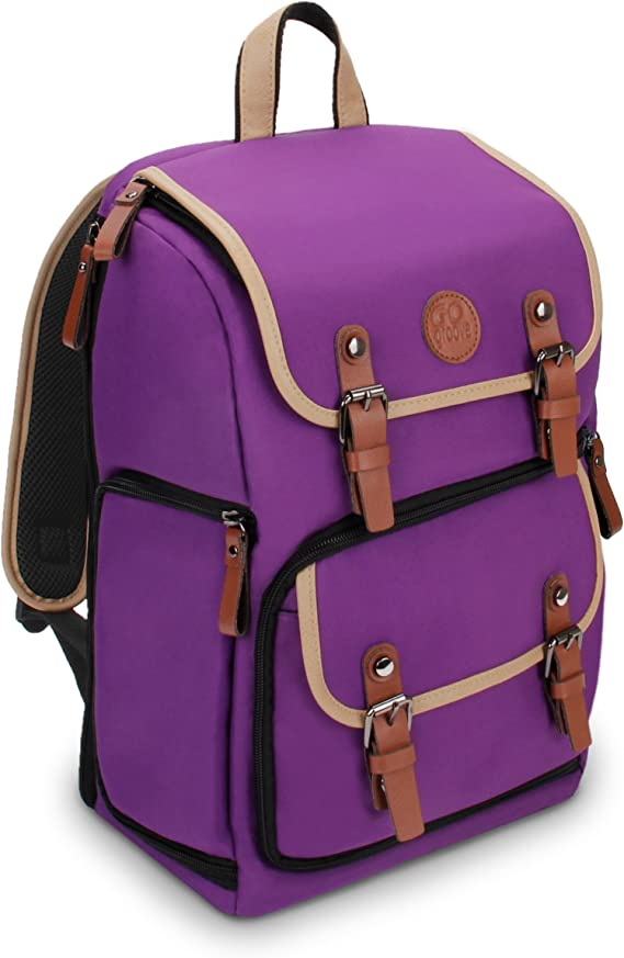 GOgroove Digital SLR Camera Backpack (Mid-Volume Purple) w/Tablet Compartment