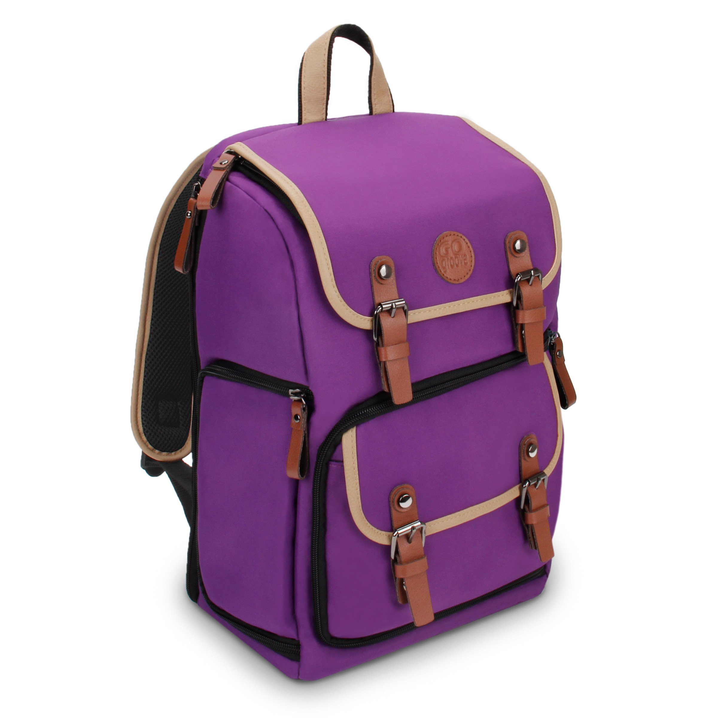 GOgroove Digital SLR Camera Backpack (Mid-Volume Purple) w/Tablet Compartment, Customizable Dividers for Accessory Storage, Tripod Holder and Weatherproof Rain Cover for Canon, Nikon, Olympus & More