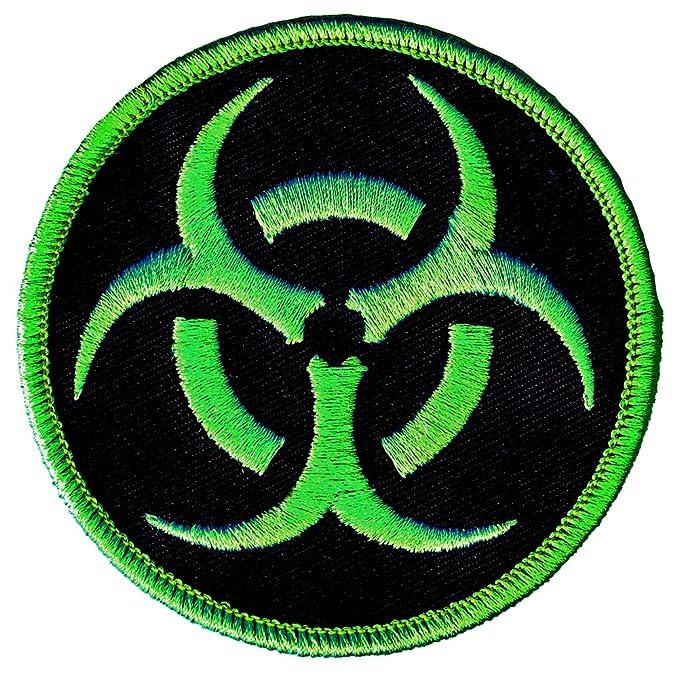amazon com biohazard symbol embroidered patch iron on danger symbol