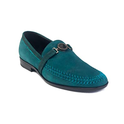4c1f76829 Amazon.com: Versace Men's Medusa Buckle Leather Penny Loafer Shoes Aqua:  Shoes