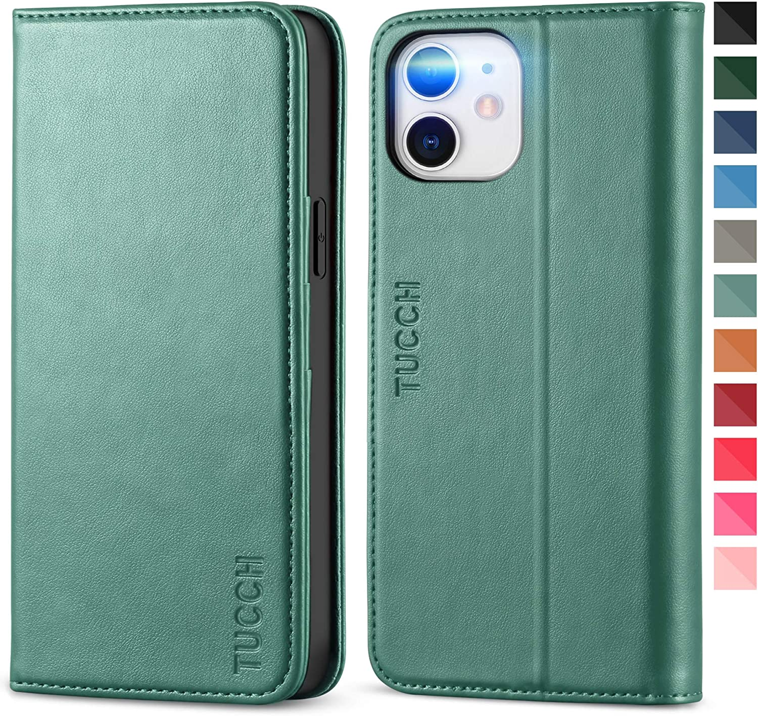 TUCCH iPhone 12 Pro Wallet Case, iPhone 12 PU Leather Case with Stand [Credit Card Slot] Flip Notebook Cover [TPU Protective Interior Case] Compatible with iPhone 12/12 Pro 6.1-inch, Myrtle Green