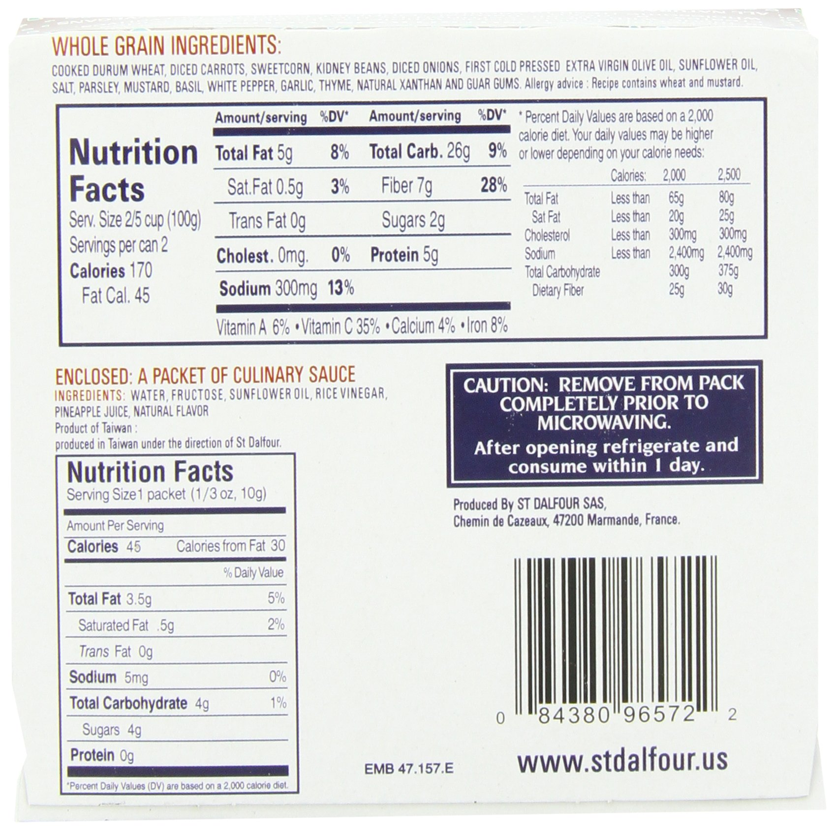 St. Dalfour Gourmet On The Go, Ready to Eat Whole Grain with Beans, 6.2-Ounce (Pack of 6) by St. Dalfour (Image #5)
