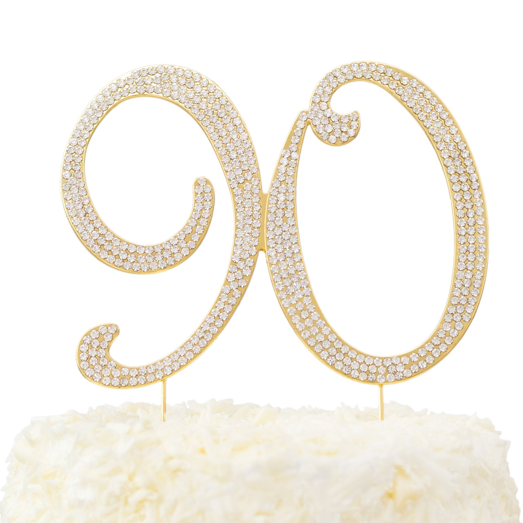 LOVENJOY with Gift Box Rhinestone 90 Cake Topper for 90th Birthday Party Supplies Gold, 5.7 X 4.5''