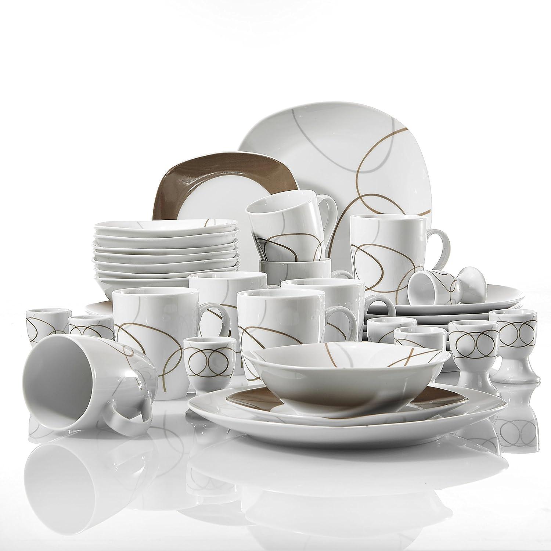 Veweet NIKITA 40pcs Service de Table Pocelaine 8pcs - Assiettes Plates 24,6cm, Assiette à Dessert 19cm, Bols à Céréales 17cm, 360ml Mug Tasse à Thé, Coquetier, Vaisselles pour 8 Personnes