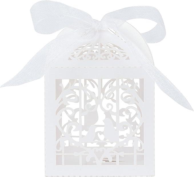 WOLFTEETH Lot de 50 Bonbonni/ères Drageoir bo/îtes /à drag/ées Bonbons pour d/écoration de Mariage Anniversaire Un Petit Cadeau Emballage d/écoupage Blanc