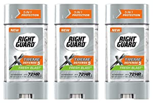 Right Guard Total Defense Anti-Perspirant Deodorant Power Gel Fresh Blast 4 oz (Pack of 3)