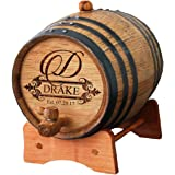 Personalized Whiskey Barrel - Engraved Wine Barrel - Custom Oak Mini Cask - Fancy Design (1 Liter Barrel)