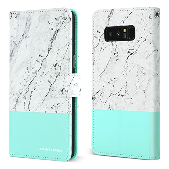 new product 37fae 27a5d BENTOBEN Note 8 Wallet Case, Galaxy Note 8 Case, Marble Design Faux Leather  Slim Folio Flip Cover 3 Card Holder Slots Kickstand Magnetic Wristlet ...