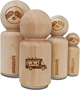 Food Truck Vehicle Rubber Stamp for Stamping Crafting Planners - 1/2 Inch Mini