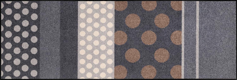 Salonloewe Fußmatte waschbar Glamour Dots grau 60x180 cm Sauberlaufmatte