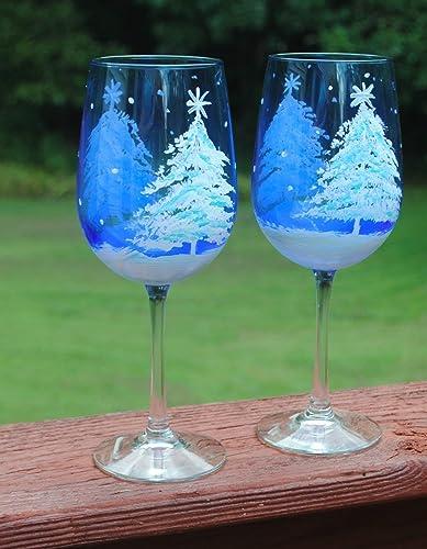 Amazon Com White Snowy Tree Painted Blue Wine Glasses Set 2 Winter Home Decor Handmade
