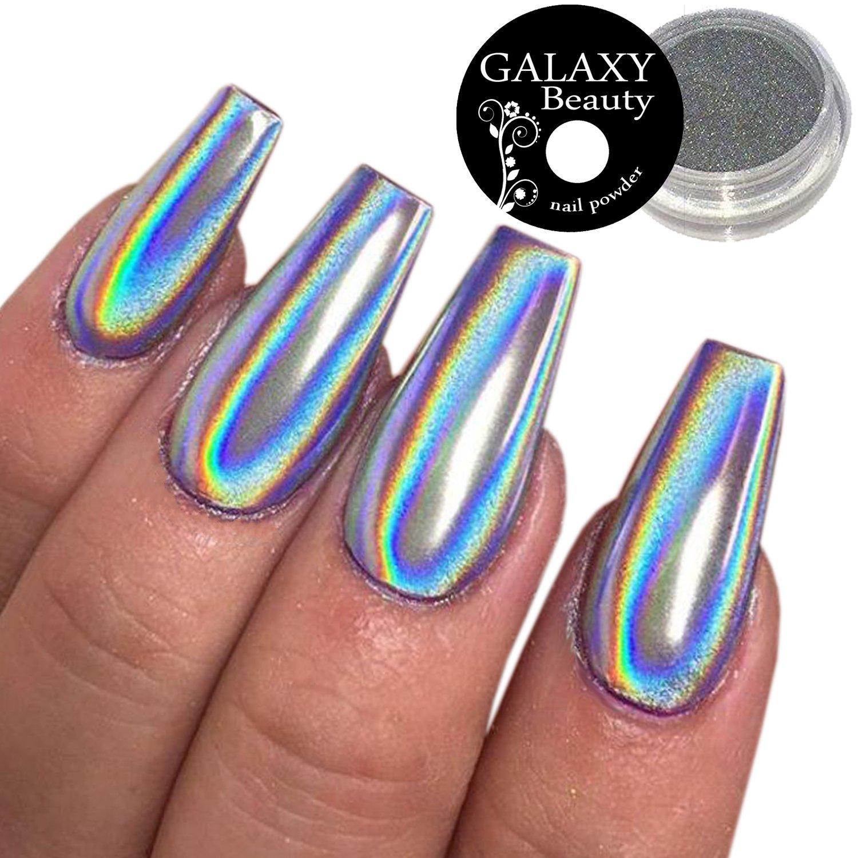 Galaxy Unicorn Rainbow Holographic Silver Mirror Effect Nail Powder ...