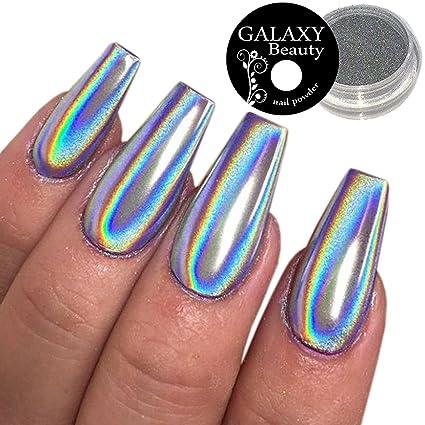 Galaxy Beauty Polvo Holográfico Para Uñas De Arcoíris 1 G Con Efecto Láser Color Plateado Y Cromado