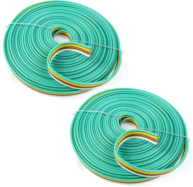 Trailer Wire 14 Gauge Flat 4-Way Wiring Harness 100 Feet Spool 2-Pack 200 Feet Total