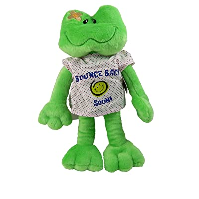 "15"" Adorable Plush BOUNCE BACK SOON Frog with HOSPITAL Gown/Cheer UP GIFT/Hope you FEEL BETTER/After SURGERY GIFT/INJURY/HOSPITALIZATION/Brighten SOMEONE'S DAY! SICKNESS/ILLNESS 810203"