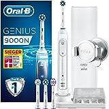 Oral-B Genius 9000N Elektrische Zahnbürste, mit Positionserkennungstechnologie, 4 Aufsteckbürsten und Premium Lade-Reise-Etui, weiß