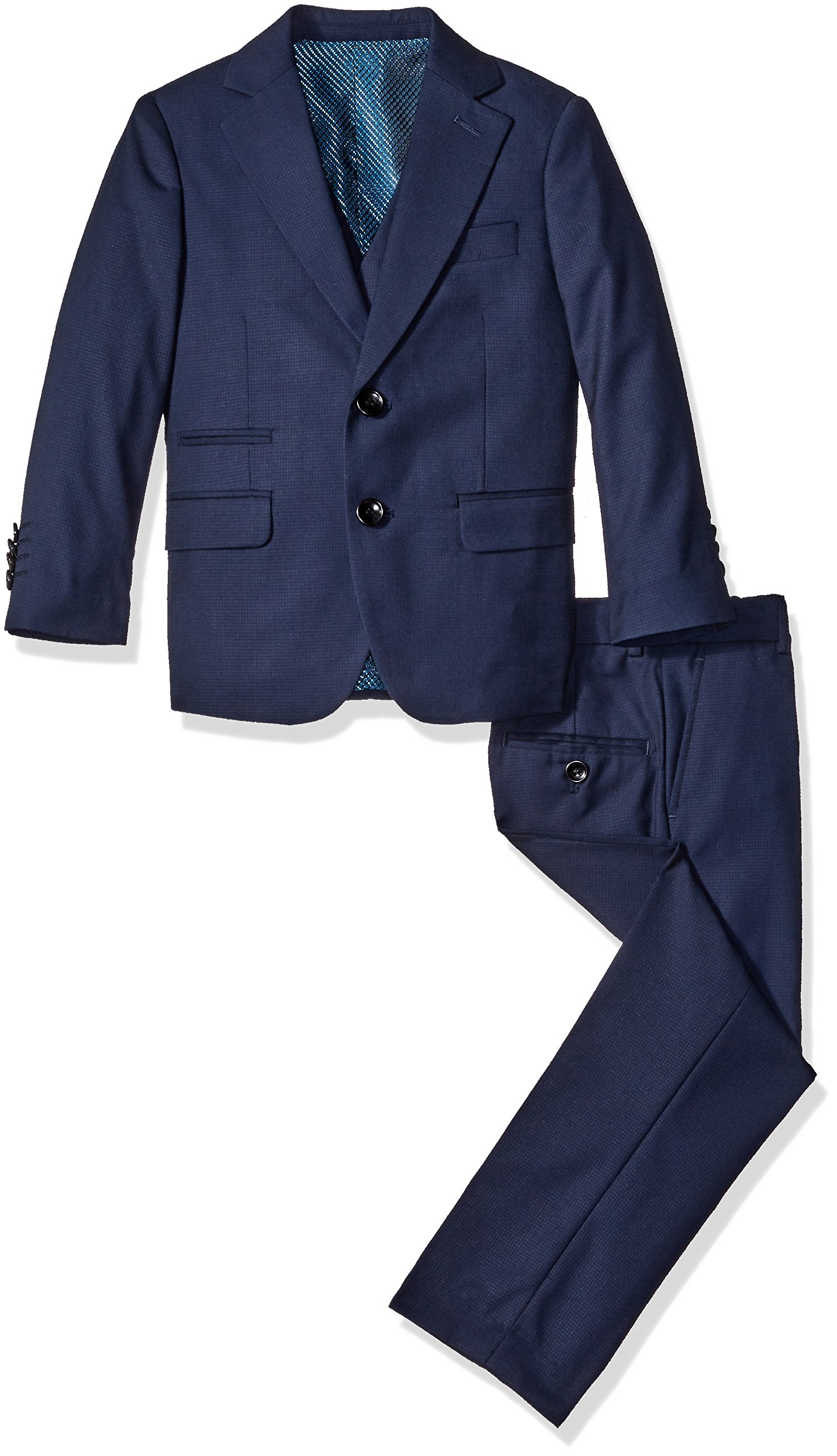 a.x.n.y Big Boys' 3 Piece Textured Suit Set, Navy, 14