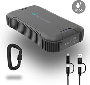 Techsmarter 30000mah Rugged & Waterproof 45W Power Delivery USB-C Port Power Bank. Heavy Duty, Camping, Hiking, Portable Phone Charger with Flashlight. Compatible with iPhone, Samsung, iPad, MacBook