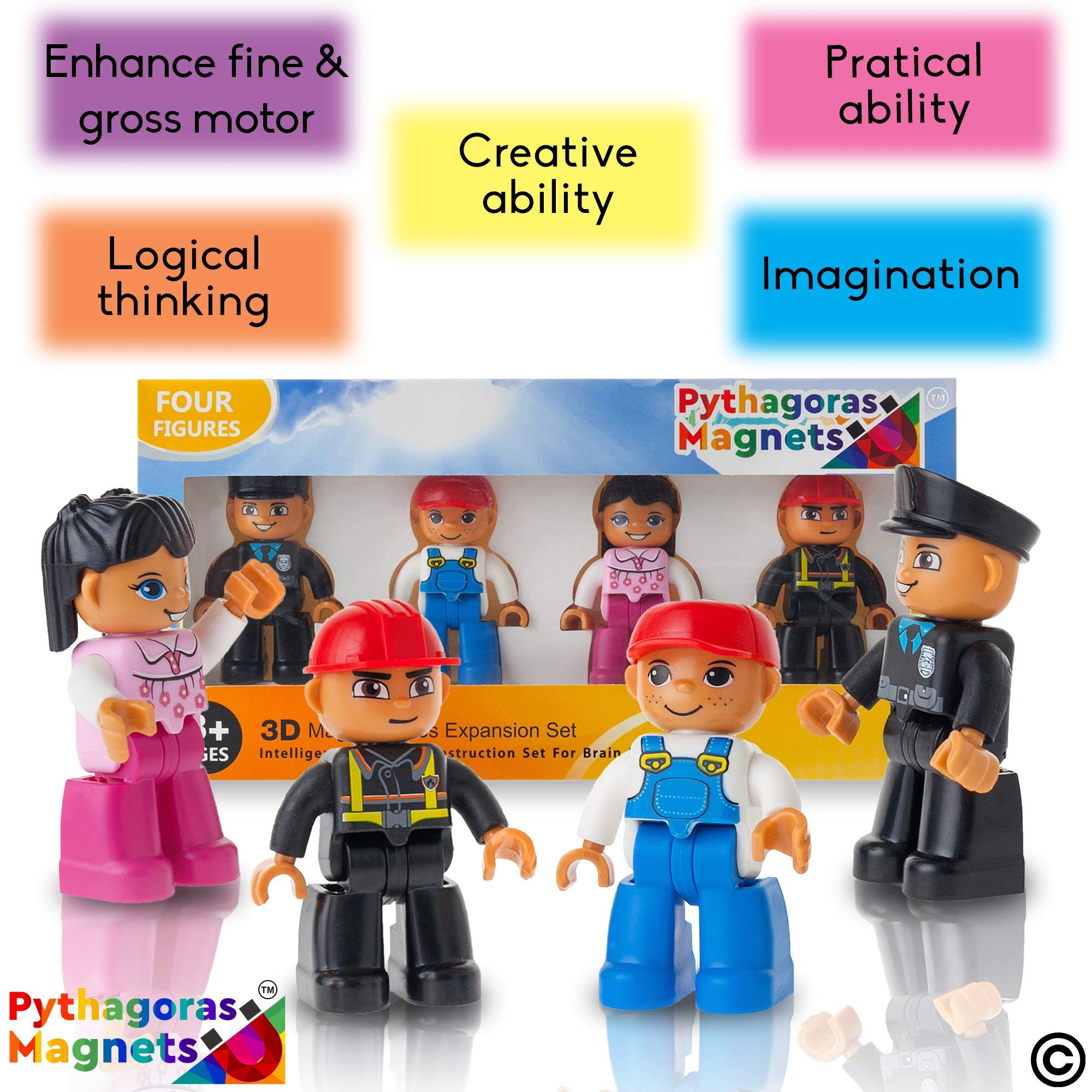 Magnetic Figures Set of 4-Toddlers Community Action Toy People, Magnetic Tiles Expansion Pack for Boys and Girls - Nurse, Builder, Fireman, Police Educational STEM Toys Add on Sets for Magnetic Blocks by Pythagoras Magnets (Image #6)