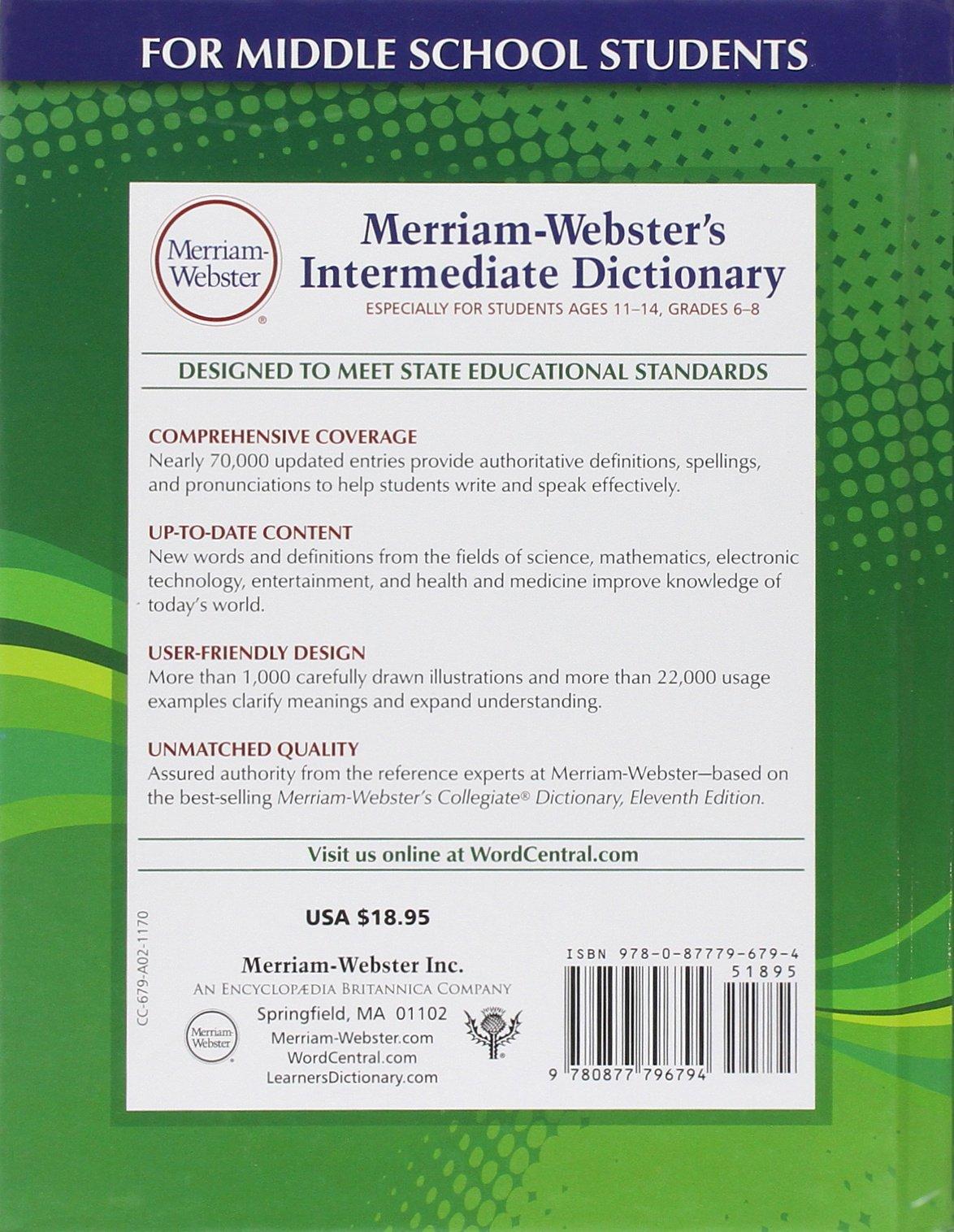Merriam-Webster's Intermediate Dictionary: Merriam-Webster: 9780877796794:  Amazon.com: Books
