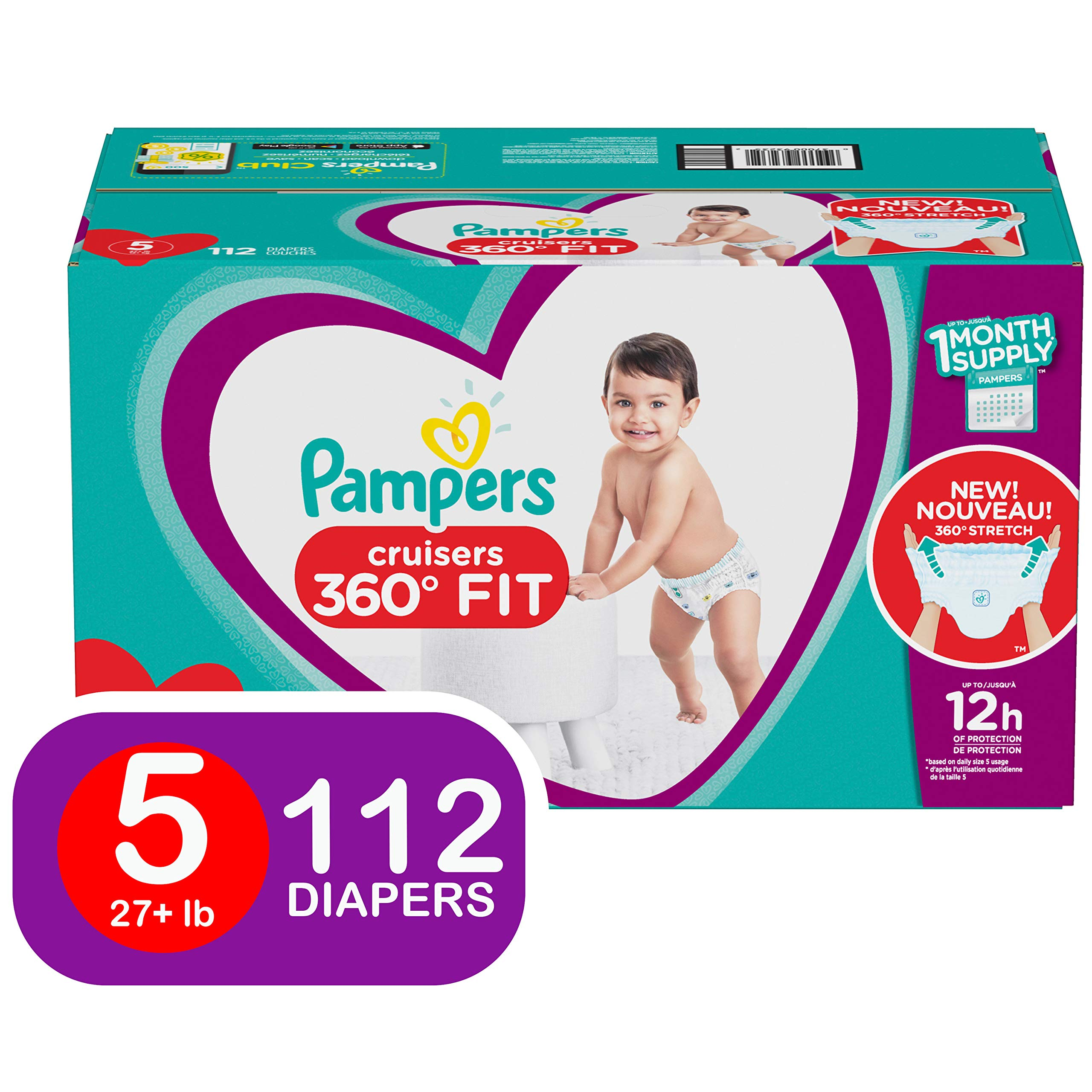 Diapers Size 5, 112 Count - Pampers Pull On Cruisers 360˚ Fit Disposable Baby Diapers with Stretchy Waistband, ONE MONTH SUPPLY by Pampers