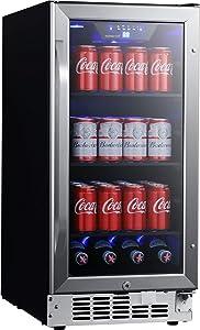 EdgeStar CBR902SG 15 Inch Wide 80 Can Built-in Beverage Cooler with Blue LED Lighting