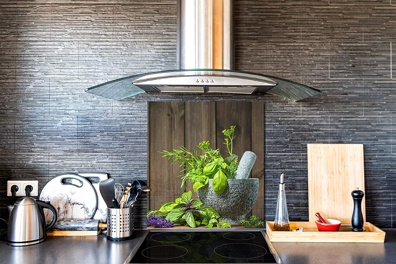 Protector antisalpicaduras Panel de vidrio para cocina Hierbas de mortero BS01 Serie hierbas