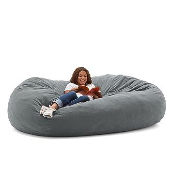 Nice Big Joe XXL Fuf Foam Filled Bean Bag Chair, Comfort Suede, Steel Grey
