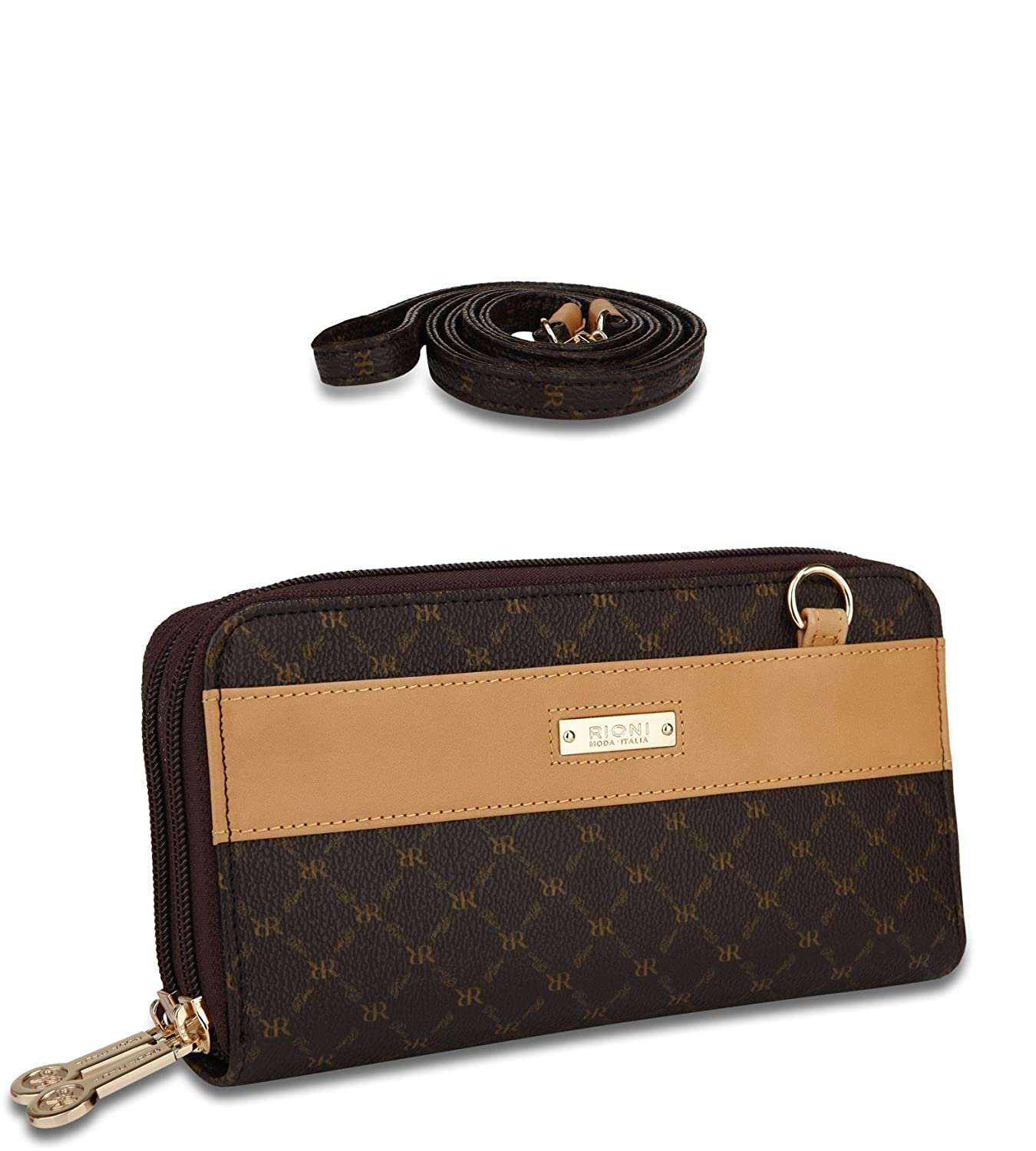 Signature Dual Zip Wallet Organizer by Rioni Designer Handbags /& Luggage