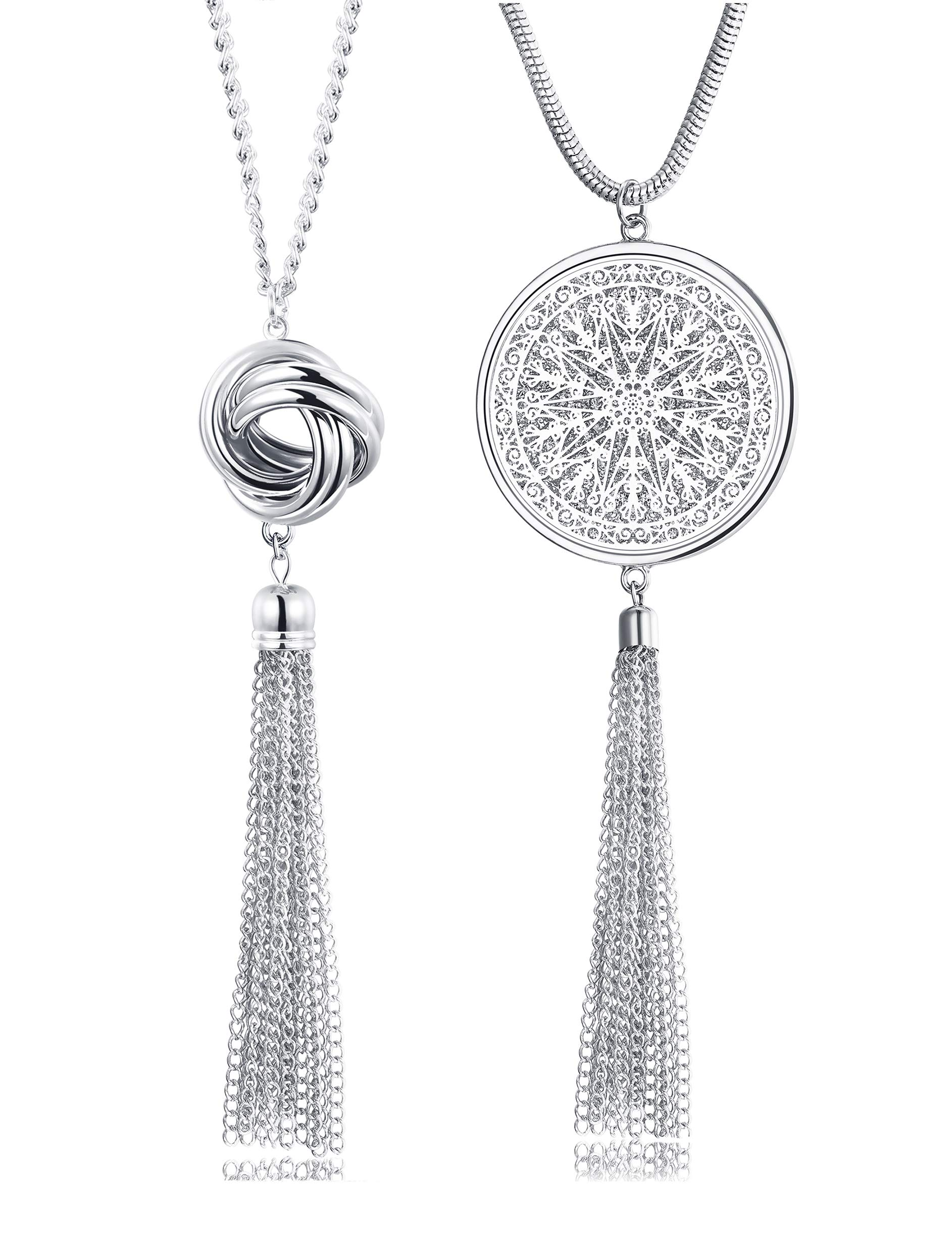 FUNRUN JEWELRY 2PCS Long Pendant Necklaces for Woman Knot Disk Circle Tassel Y Necklaces Set (2PCS Silver Tone) by FUNRUN JEWELRY