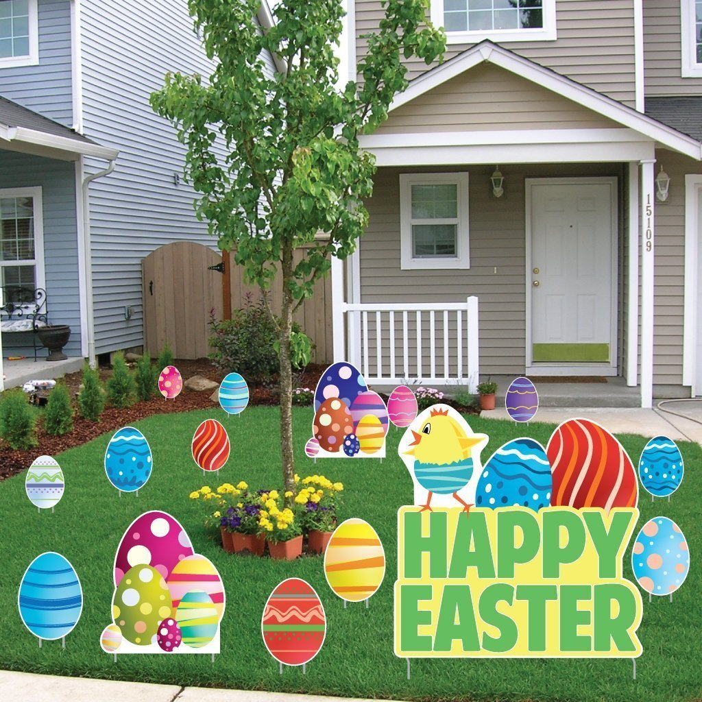 Easter Yard Decorations - Easter Egg and Chick - Stand Up Set