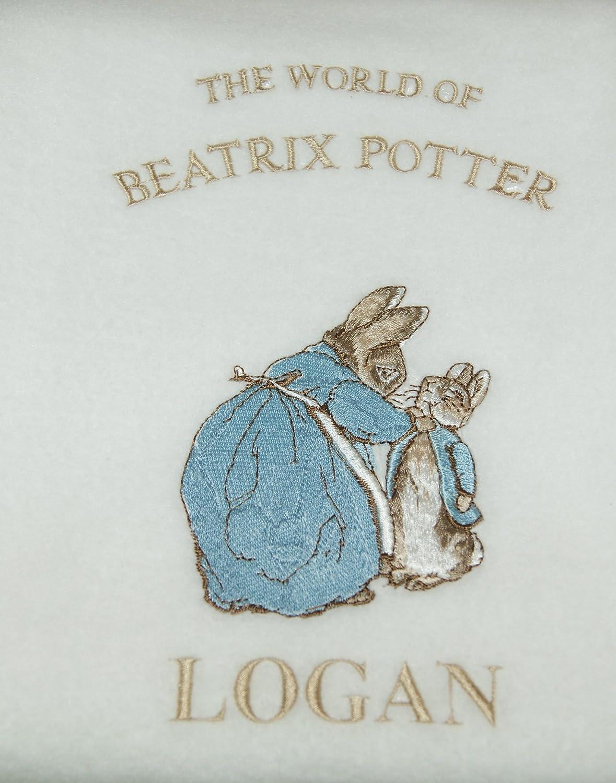 Blue Boys Personalised Peter The Rabbit Baby Super Soft Fleece Blanket.