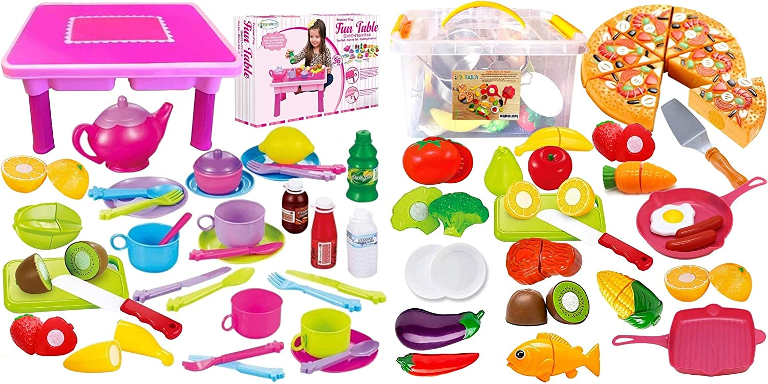 FUNERICA Bundle: Add More Food on The Table, and Save! Pretend-Play Bundle: Toddler Folding Storage Table Set Combined with The Cutting Toy Food Playset