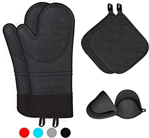 Kiya Oven Mitts and Pot Holders (6-Piece Sets),Silicone Oven Mitts Heat Resistant,Silicone Oven Gloves with Cooking Pinch Mitts and Potholders (Black)