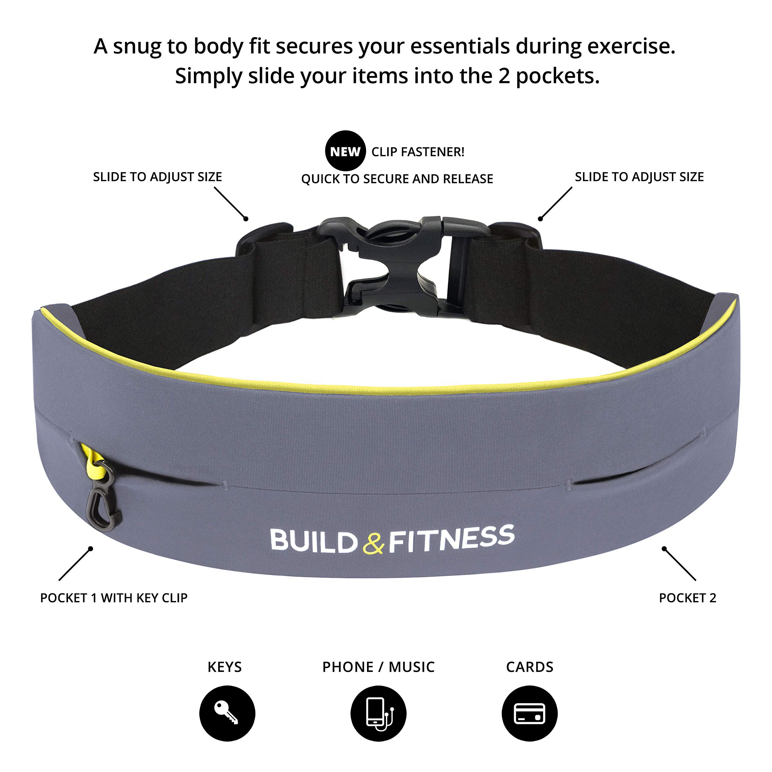 Build & Fitness Running Belt Waist Adjustable, Comfortable Slim with Key Clip - Fits Fuel Gel, iPhone 6,7,8plus,X, Samsung S7,S8,S9 - for Men, Women, Runners, Jogging, Gym, Yoga, Workout, Sports by Build & Fitness (Image #7)