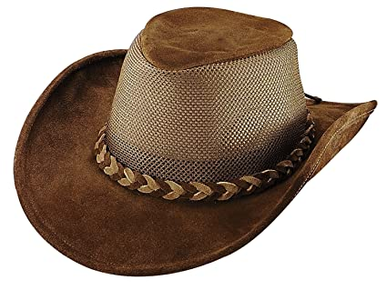 9cd00ee0477 Henschel Men s Explorer Crushable Cowhide Suede Leather UPF 50 Mesh Breezer  Hat