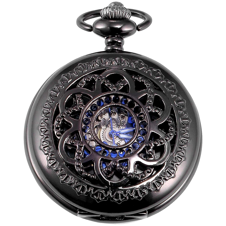 New Brand Mall Retro Black Flower Skeleton mechanical Hand-wind blue roman numberal Pocket Watch