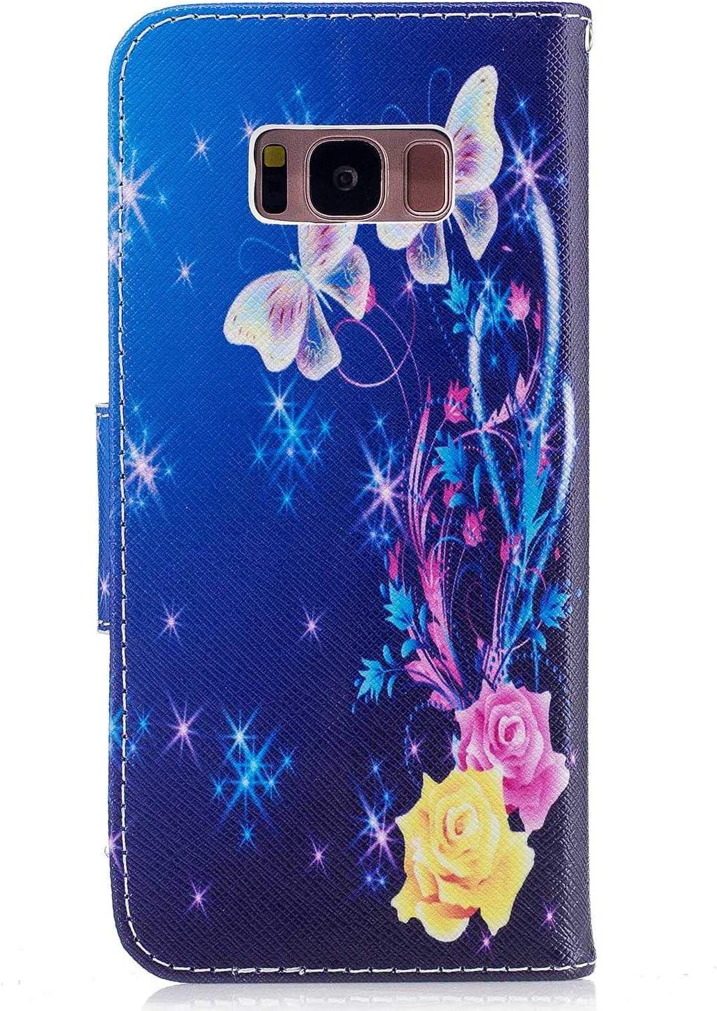 CAXPRO Coque Galaxy S8 Portefeuille Coque pour Samsung Galaxy S8 avec Fermeture magn/étique et Emplacements pour Carte Lotus /Étui en Cuir /à Rabat