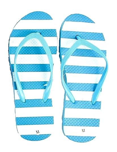 9e9a088eae4b5 Amazon.com | DollarMaxVI Women's Flip Flops Striped Pastel Blue ...