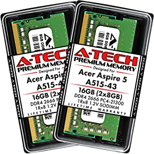 A-Tech 16GB (2x8GB) RAM for Acer Aspire 5 Slim Laptop A515-43 | DDR4 2666MHz SODIMM PC4-21300 260-Pin CL19 1.2V Non-ECC Unbuffered Memory Upgrade Kit