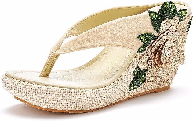 Flor Cuñas Sandalias Flip Flops Para Las Mujeres Sandalias De Playa Cuñas Plataforma Bohemia Sandalias Flip Flops Mujer Zapatos De Verano Shoes