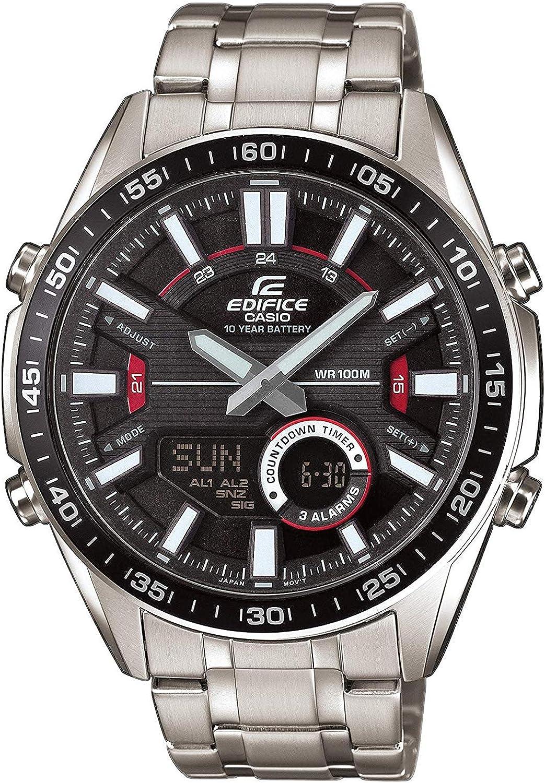 Casio EDIFICE Reloj en caja sólida, 10 BAR, Negro, para Hombre, con Correa de Acero inoxidable, EFV-C100D-1AVEF