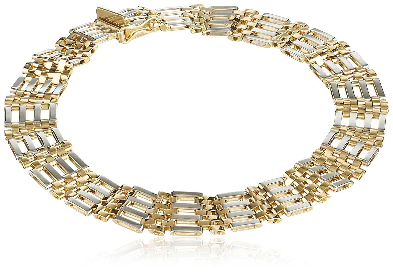 "Men's 14k Gold Two-Tone 9.4mm Bracelet, 8.25"""