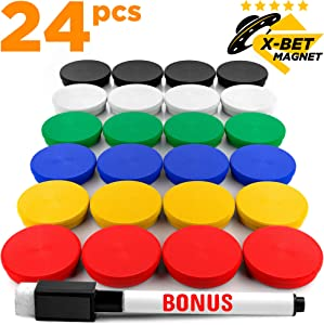 Fridge Magnets - Colored Refrigerator Magnets for Whiteboard and Locker Magnets - Perfect for Office, Classroom, Kitchen or School Magnets - Fridge Magnets for Refrigerator 24 PCs