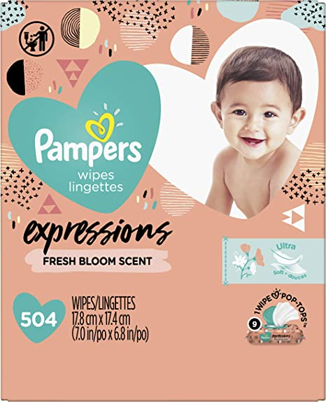 Pampers Sensitive Baby Wipes Water-Based Baby Diaper Wipes 9x Pop-Top 504 Ct